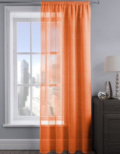 SHIMMER GLITTER SLOT TOP READY MADE STYLISH LIGHT NET VOILE CURTAIN ORANGE COLOUR
